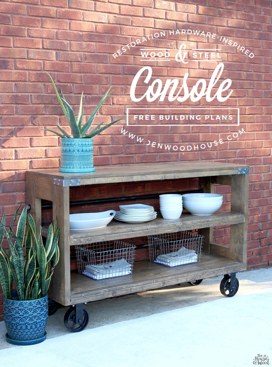 Restoration Hardware Wood And Steel Console