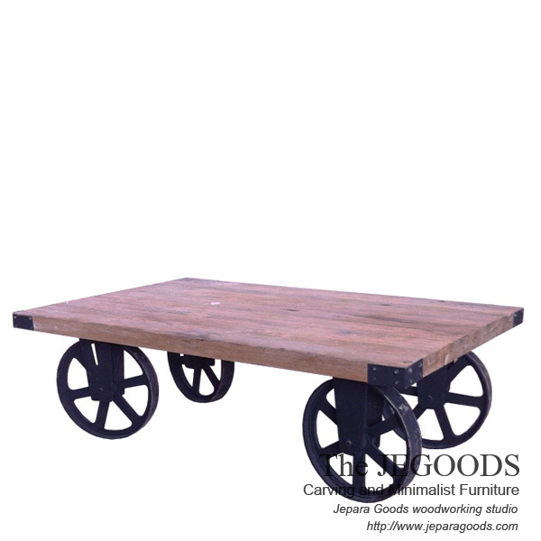 Gerobak Coffee Table Industrial Wheeled Cart Meja Gerobak Roda Besi