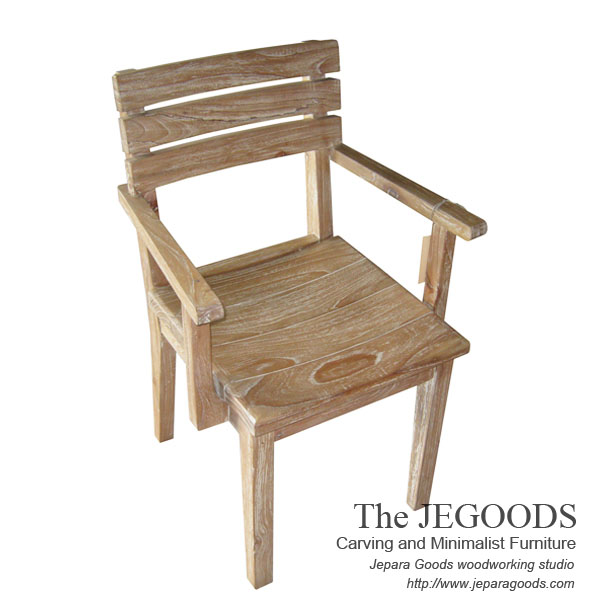 Tri arm chair rustic white wash model kursi