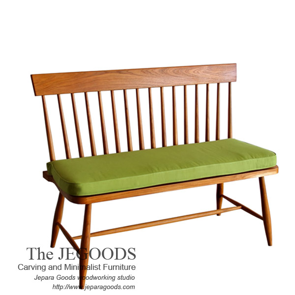 Windsor spindle line bench 2 seat teak vintage retro for Furniture jepara