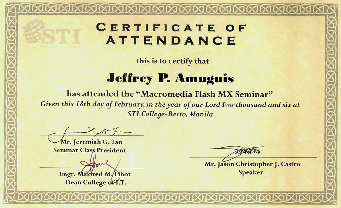 certificate for attending seminar  Sample Certificate Of Attendance In Seminar Image collections ...