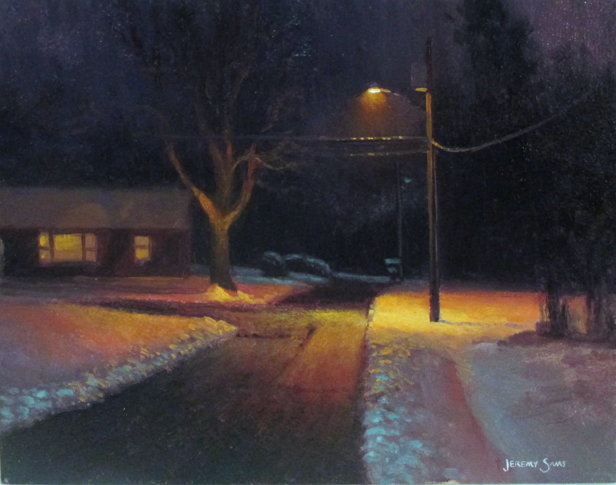 Street Light At Night Painting Capturing Winter En Plein Air Jeremy Sams Art