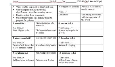 Image of Vocabulary Worksheet