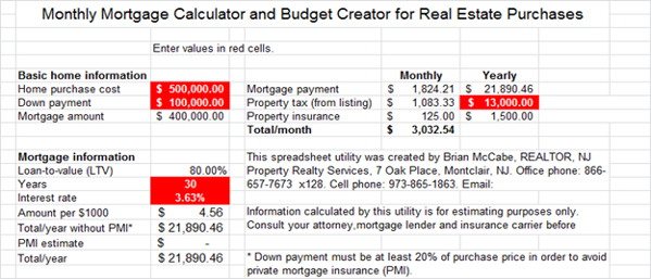 FREE Monthly Carrying Cost Estimator Including PMI \u2013 Jersey Real