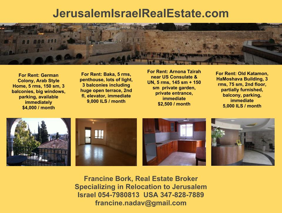 Ba\u0027qa Jerusalem Israel Real Estate - apartment for rent flyer