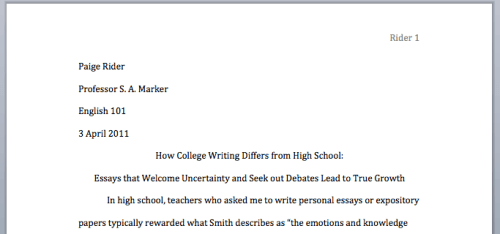 How should college essays be formatted
