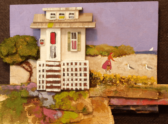 "In an online biography, mixed media artist George R. Wazenegger writes ""I create wood collage of charming and quaint architectural structures. I do this because of the nostalgia and love of these places which are slow[ly] disappearing.""  http://www.yessy.com/waz/bio.html"