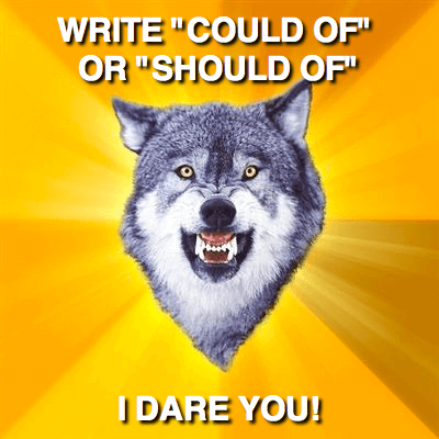 A tough-looking wolf brings up a common writing error.