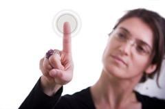 businesswoman pressing a button