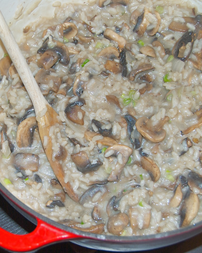 This Mushroom Risotto is made with arborio rice and packed full of rich, meaty mushrooms. It's the perfect side dish to pair with a delicious steak!