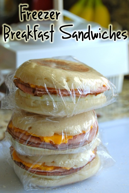 These Freezer Breakfast Sandwiches are perfect for easy, grab-and-go breakfasts. They reheat quickly and easily in the microwave!