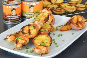 Chipotle Peach BBQ Chicken Skewers with Jalapeno Grilled Cornbread