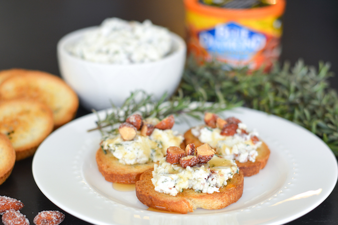 Rosemary Almond Goat Cheese Crostinis