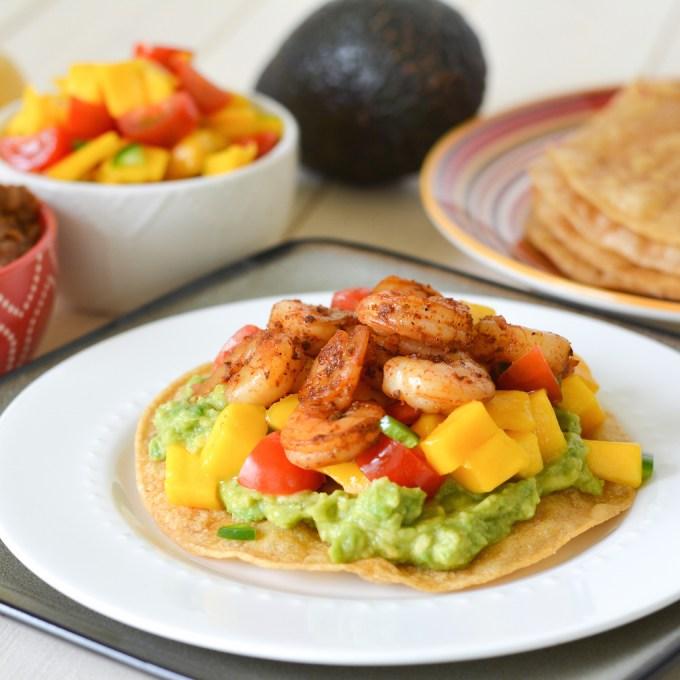 mango shrimp tostadas print these mango shrimp tostadas are quick and ...
