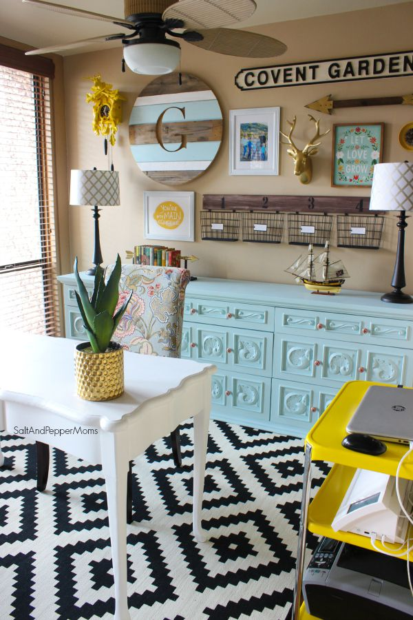 7 Creative Office Space Ideas - Blue, Yellow, & Gold