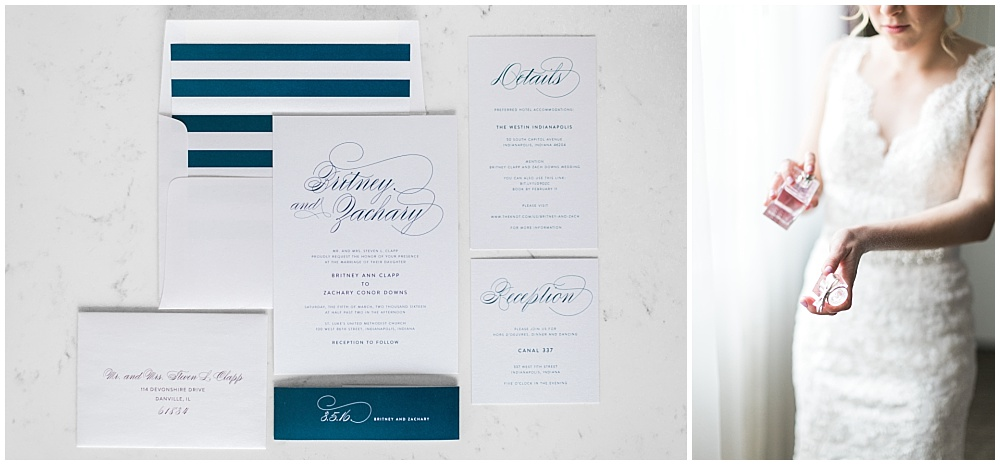 Navy Wedding Invitation Suite | Downtown Indianapolis and CANAL 337 Wedding by Cory + Jackie Photography & Jessica Dum Wedding Coordination