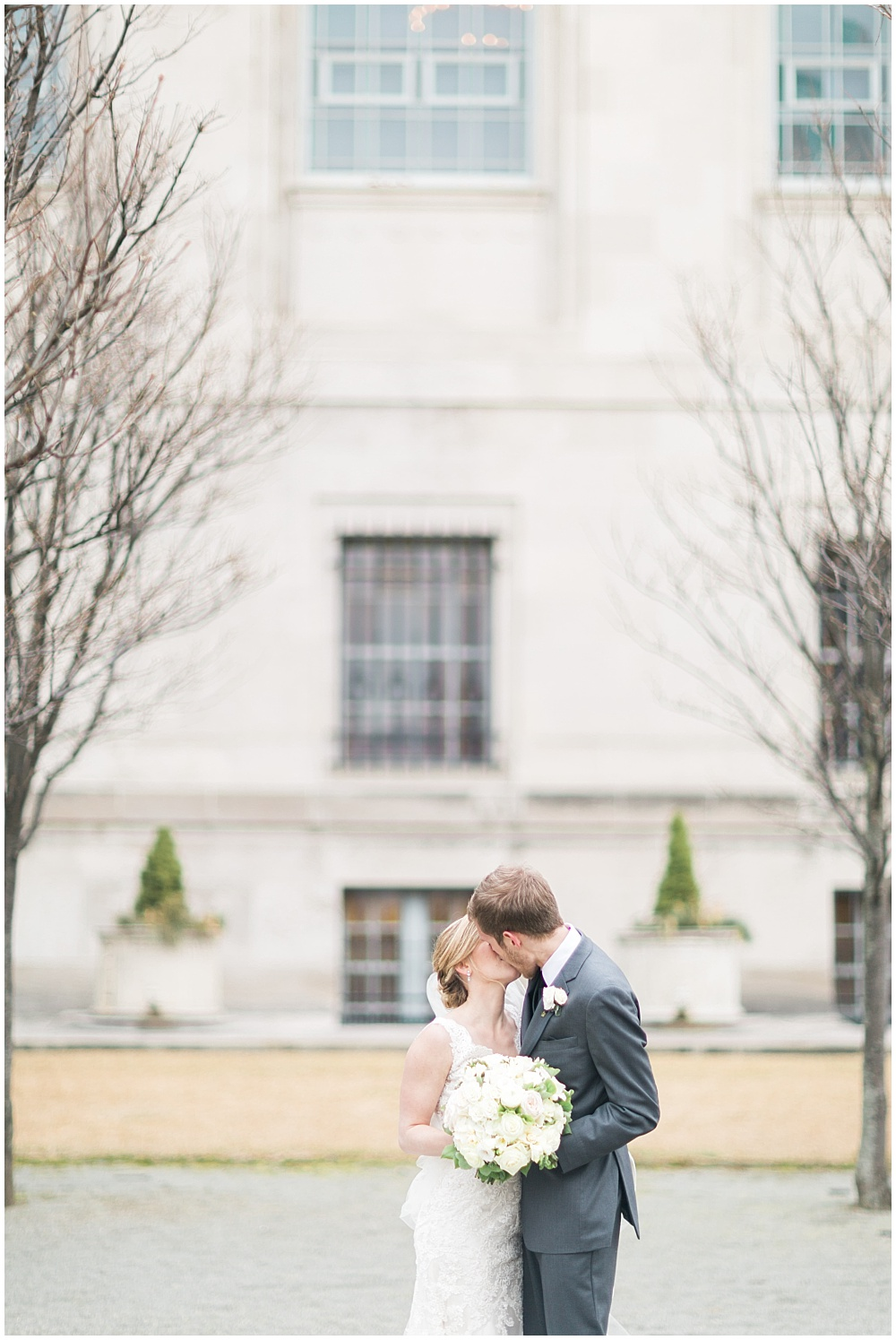 Bride + Groom Kiss | Downtown Indianapolis and CANAL 337 Wedding by Cory + Jackie Photography & Jessica Dum Wedding Coordination