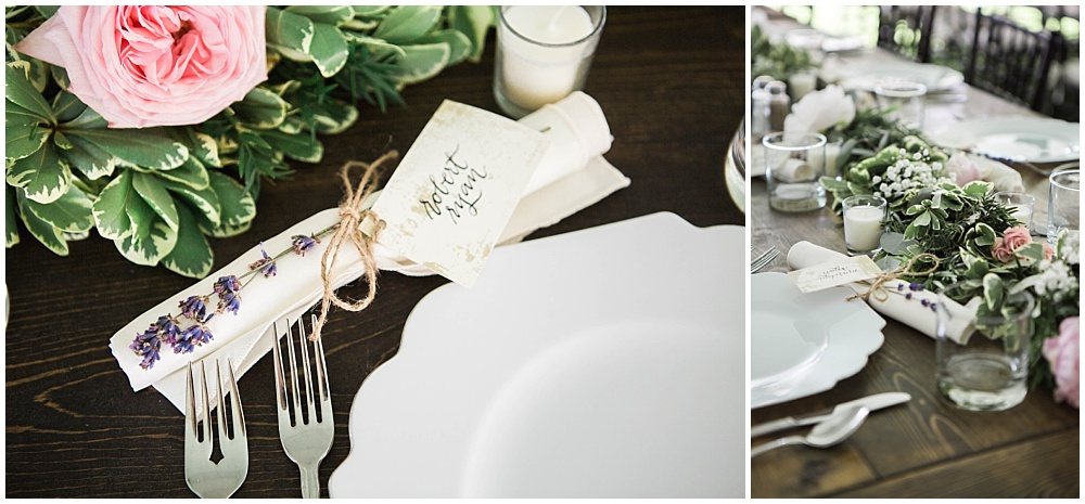 Elegant Rustic Wedding Place Setting with Lavender and Floral Garland | Rustic Outdoor Estate Wedding by Conforti Photography & Jessica Dum Wedding Coordination