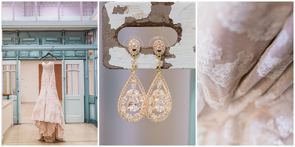 Strapless lace wedding dress and diamond earrings | Downtown Indianapolis Wedding by Gabrielle Cheikh Photography & Jessica Dum Wedding Coordination