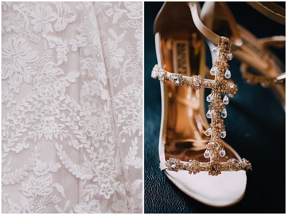Lace wedding dress + strappy Badgley Mischka's | Downtown Indianapolis Wedding by Caroline Grace Photography & Jessica Dum Wedding Coordination