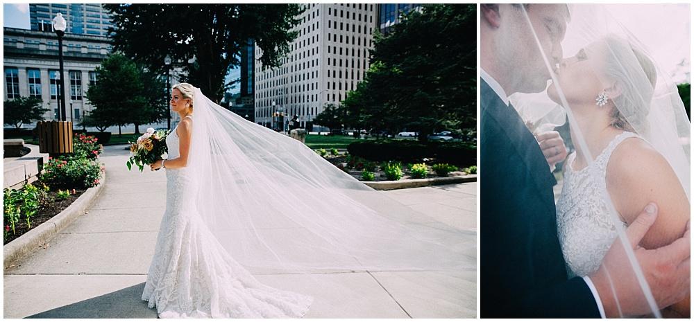 Lace wedding dress | Downtown Indianapolis Wedding by Caroline Grace Photography & Jessica Dum Wedding Coordination