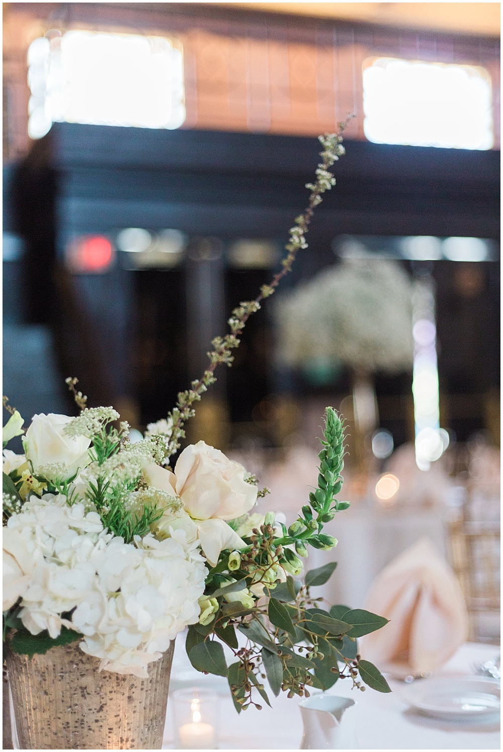 Blush, white and green wedding centerpieces | Downtown Indianapolis Wedding by Gabrielle Cheikh Photography & Jessica Dum Wedding Coordination