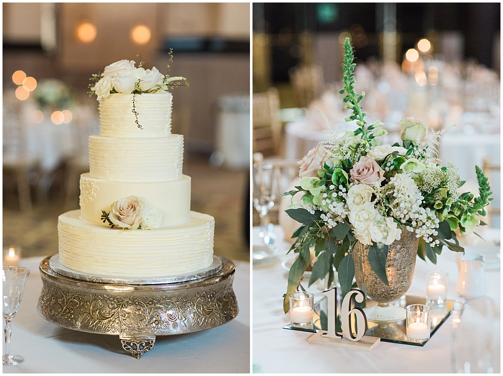 Blush, white and green florals and simple wedding cake | Downtown Indianapolis Wedding by Gabrielle Cheikh Photography & Jessica Dum Wedding Coordination