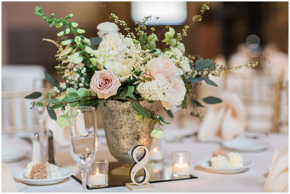 Blush, white and green wedding florals | Downtown Indianapolis Wedding by Gabrielle Cheikh Photography & Jessica Dum Wedding Coordination