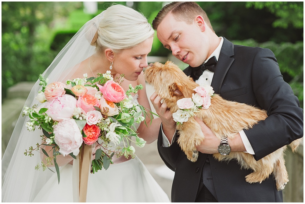 Bride and Groom with puppy | Ritz Charles Garden Pavilion Wedding by Stacy Able Photography & Jessica Dum Wedding Coordination