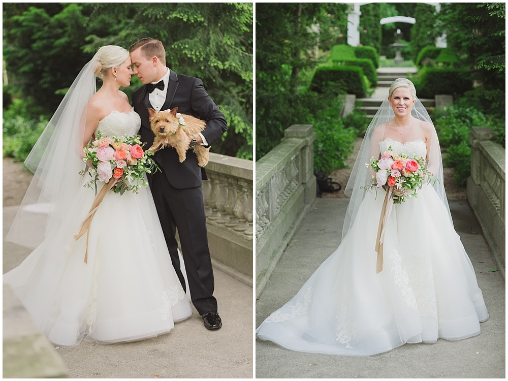 Lazaro bridal gown and blush, pink and green bridal bouquet   Ritz Charles Garden Pavilion Wedding by Stacy Able Photography & Jessica Dum Wedding Coordination