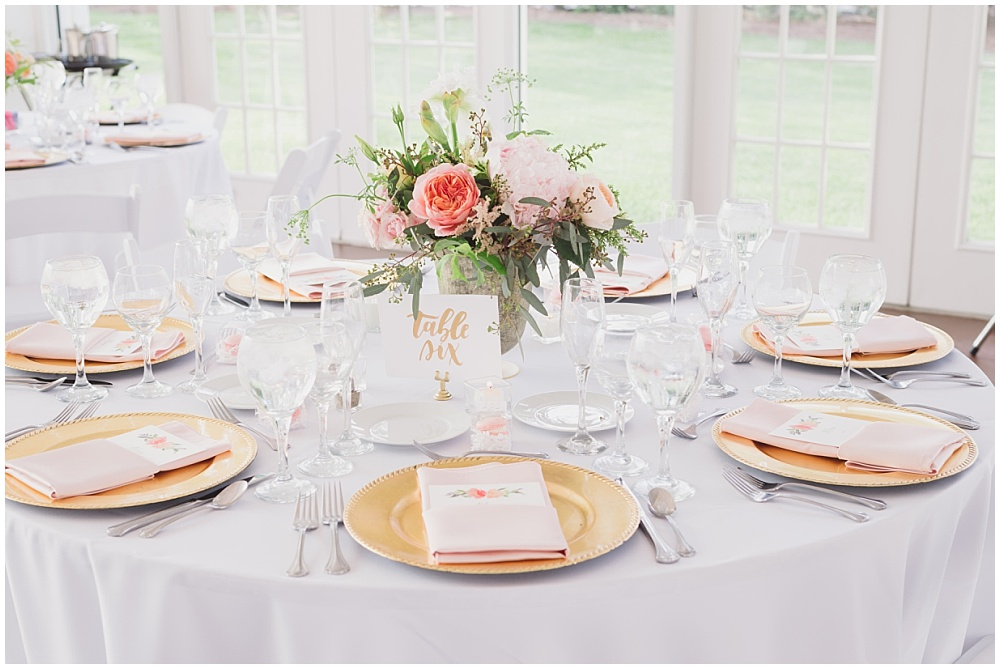 Blush and Gold Wedding Tablescape   Ritz Charles Garden Pavilion Wedding by Stacy Able Photography & Jessica Dum Wedding Coordination