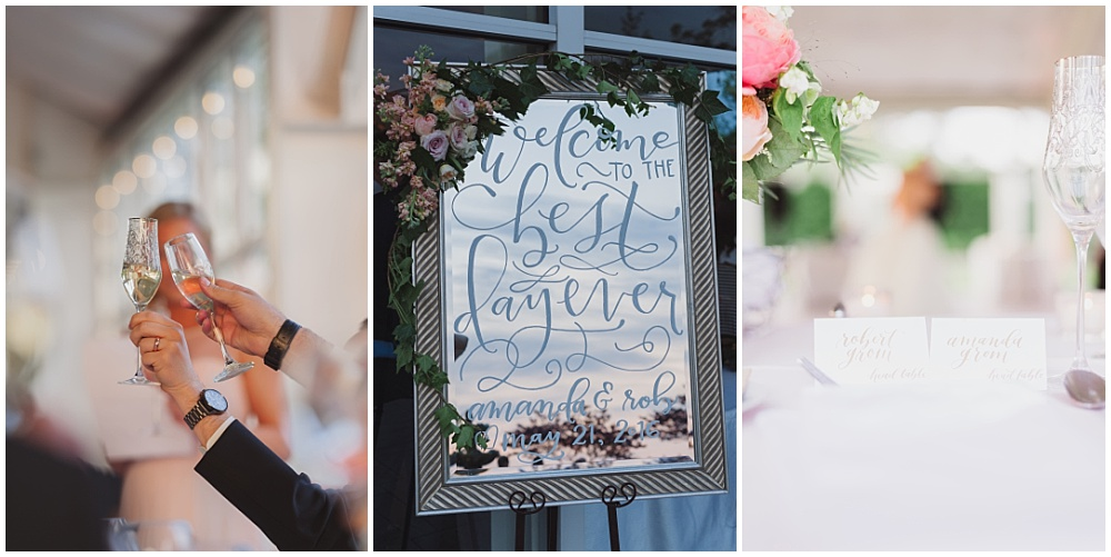 Hand lettered mirror sign with corner floral | Ritz Charles Garden Pavilion Wedding by Stacy Able Photography & Jessica Dum Wedding Coordination