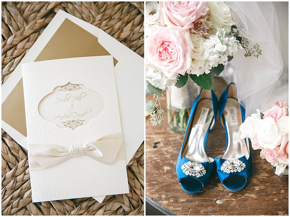 Elegant wedding invitations and blue bridal shoes | Family Farm wedding by SB Childs Photography & Jessica Dum Wedding Coordination