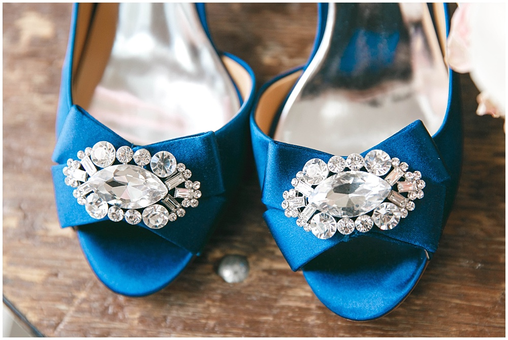 Blue bridal shoes as a bride's something blue | Family Farm wedding by SB Childs Photography & Jessica Dum Wedding Coordination