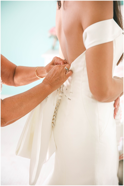 Back of bride's wedding dress | Family Farm wedding by SB Childs Photography & Jessica Dum Wedding Coordination