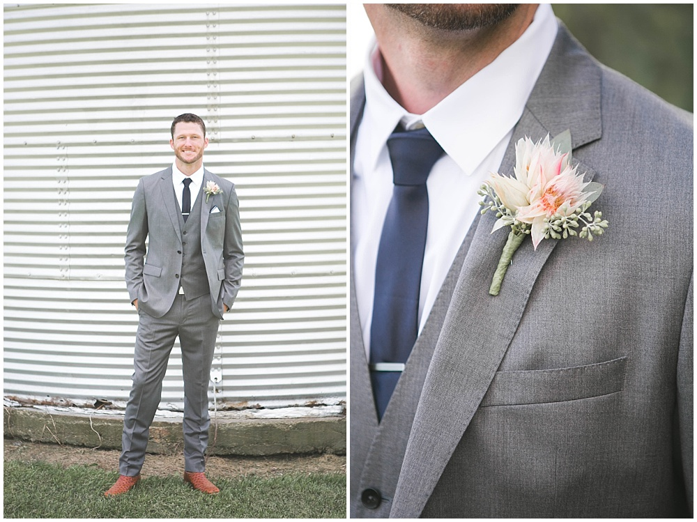 Groom's grey suit and blush boutonniere | Family Farm wedding by SB Childs Photography & Jessica Dum Wedding Coordination