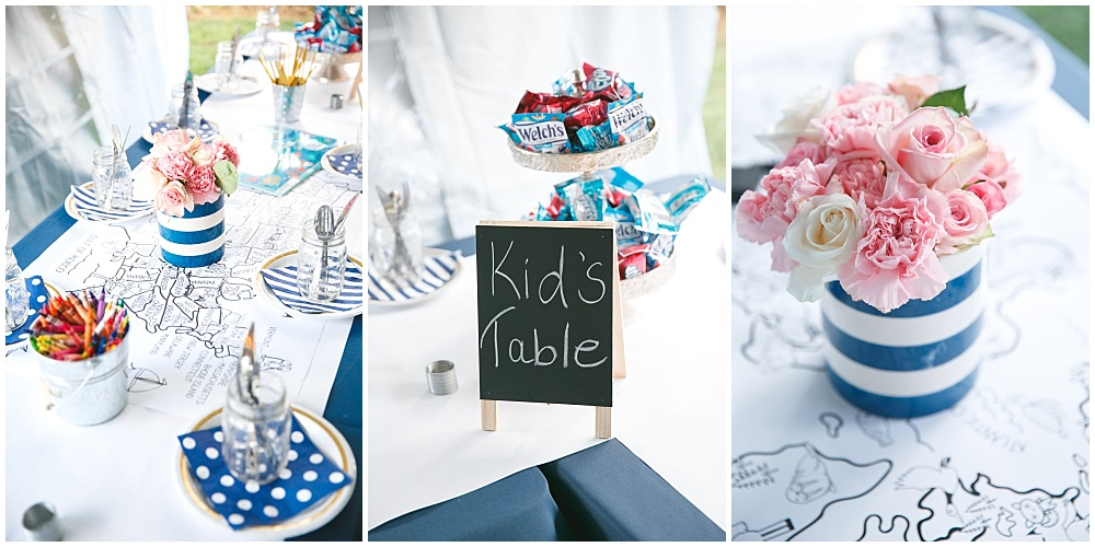 Navy and Blush wedding kids table | Family Farm wedding by SB Childs Photography & Jessica Dum Wedding Coordination