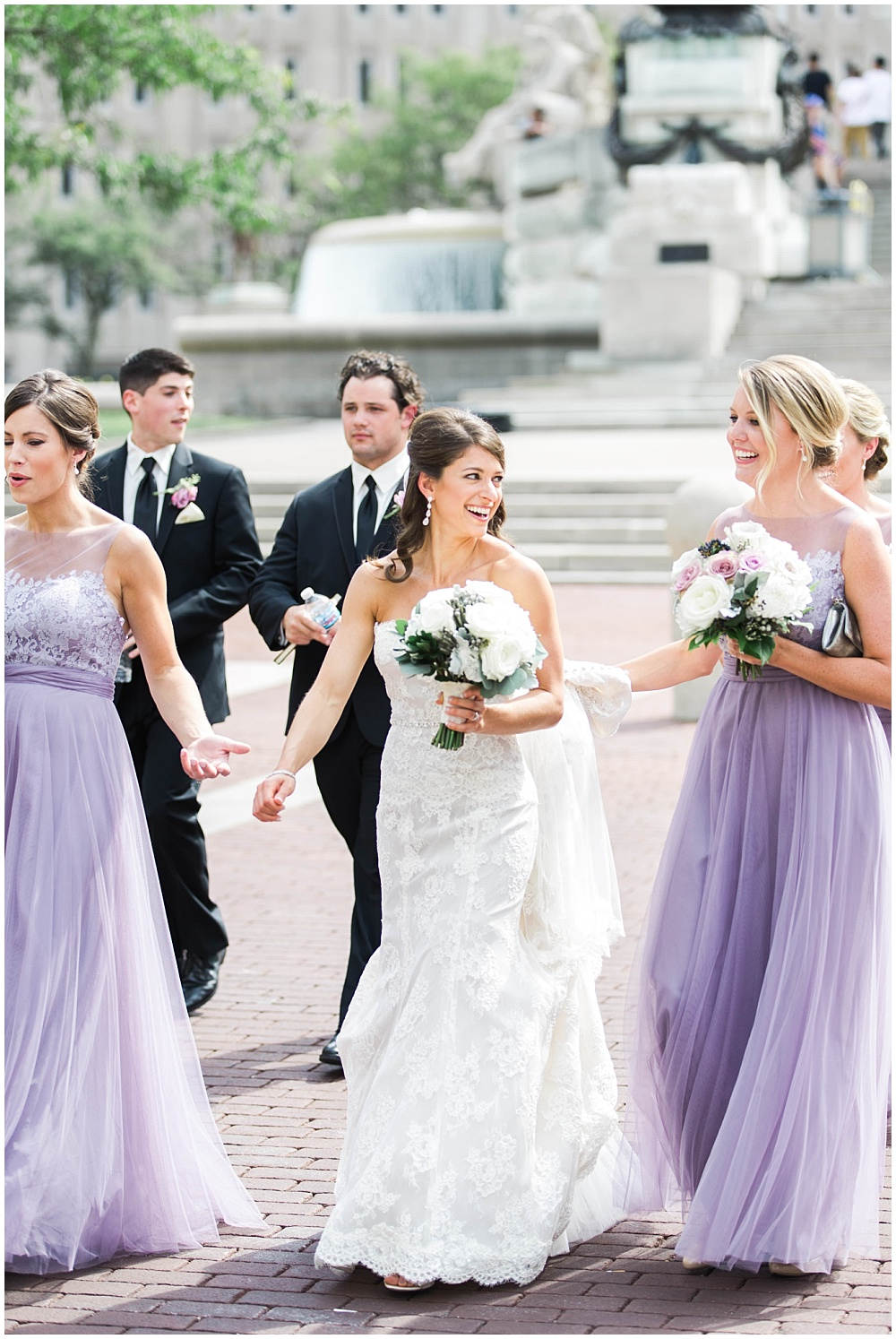 Bridal Party fun walking the streets of downtown | D'Amore Wedding by Ivan & Louise Images & Jessica Dum Wedding Coordination