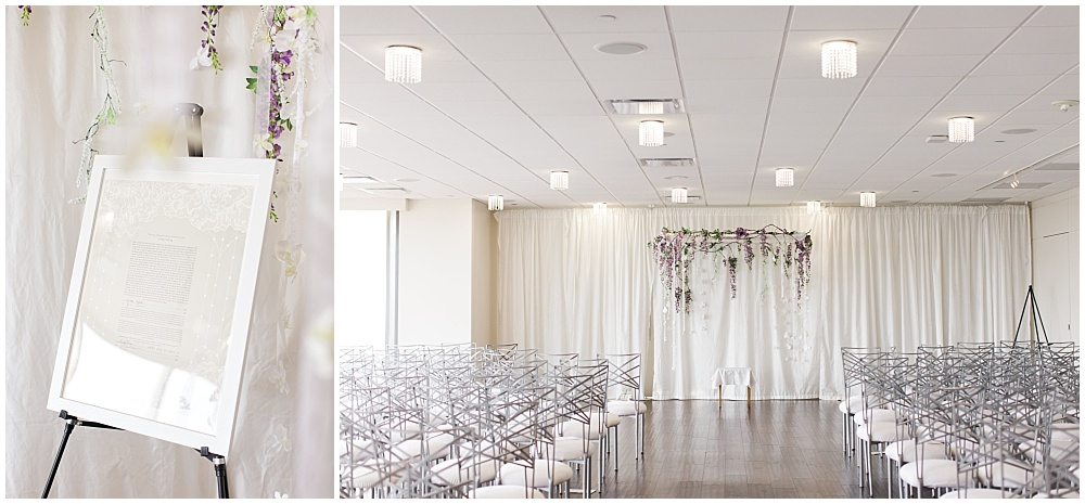 All white Jewish ceremony with hanging purple floral chuppah | D'Amore Wedding by Ivan & Louise Images & Jessica Dum Wedding Coordination