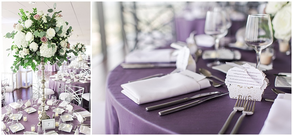 Purple and white wedding tablescape details | D'Amore Wedding by Ivan & Louise Images & Jessica Dum Wedding Coordination