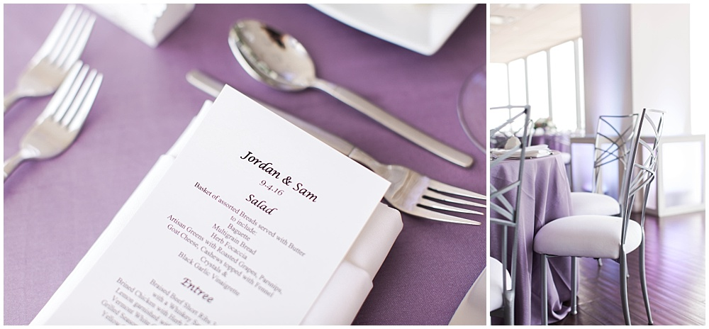 Purple table linens with white cushion covers | D'Amore Wedding by Ivan & Louise Images & Jessica Dum Wedding Coordination