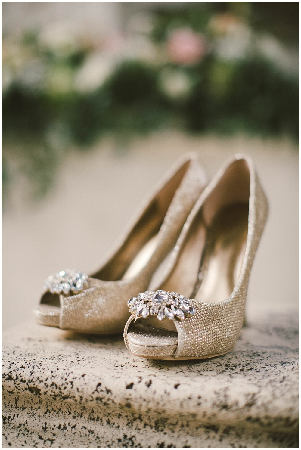 Gold wedding shoes | Indianapolis Central Library Wedding by Jennifer Van Elk Photography & Jessica Dum Wedding Coordination