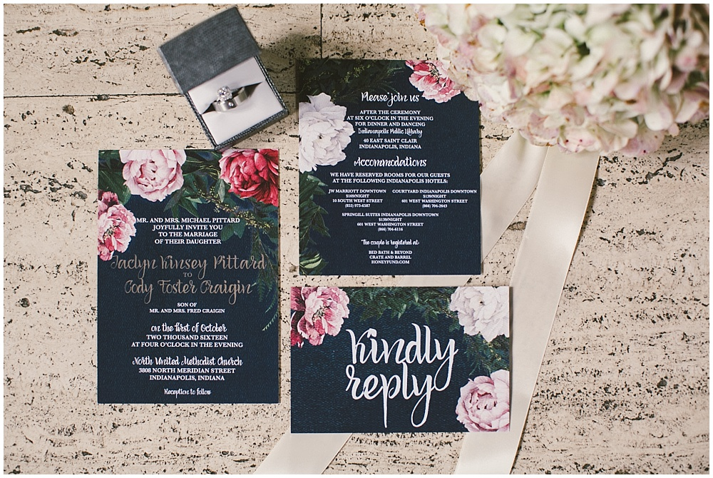 Navy and blush wedding invitations | Indianapolis Central Library Wedding by Jennifer Van Elk Photography & Jessica Dum Wedding Coordination