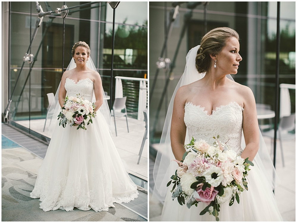 Lace wedding dress with blush, white and green bridal bouquet | Indianapolis Central Library Wedding by Jennifer Van Elk Photography & Jessica Dum Wedding Coordination