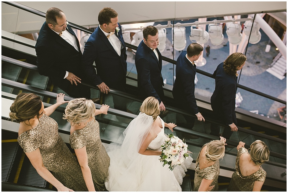 Navy, blush and gold wedding party | Indianapolis Central Library Wedding by Jennifer Van Elk Photography & Jessica Dum Wedding Coordination