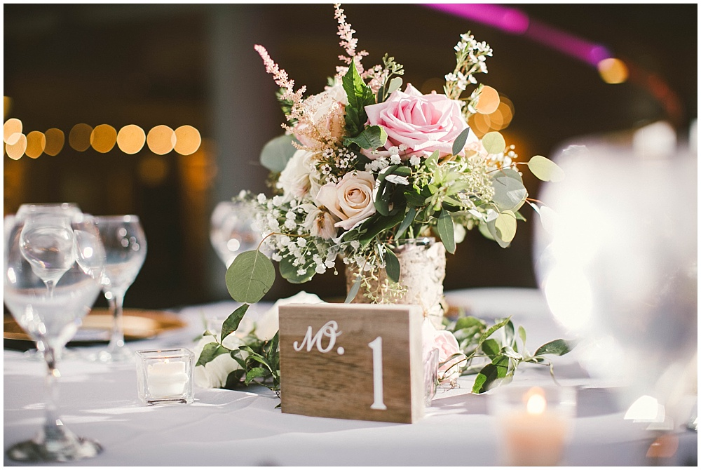 Blush, white and green floral centerpieces with wood table numbers | Indianapolis Central Library Wedding by Jennifer Van Elk Photography & Jessica Dum Wedding Coordination