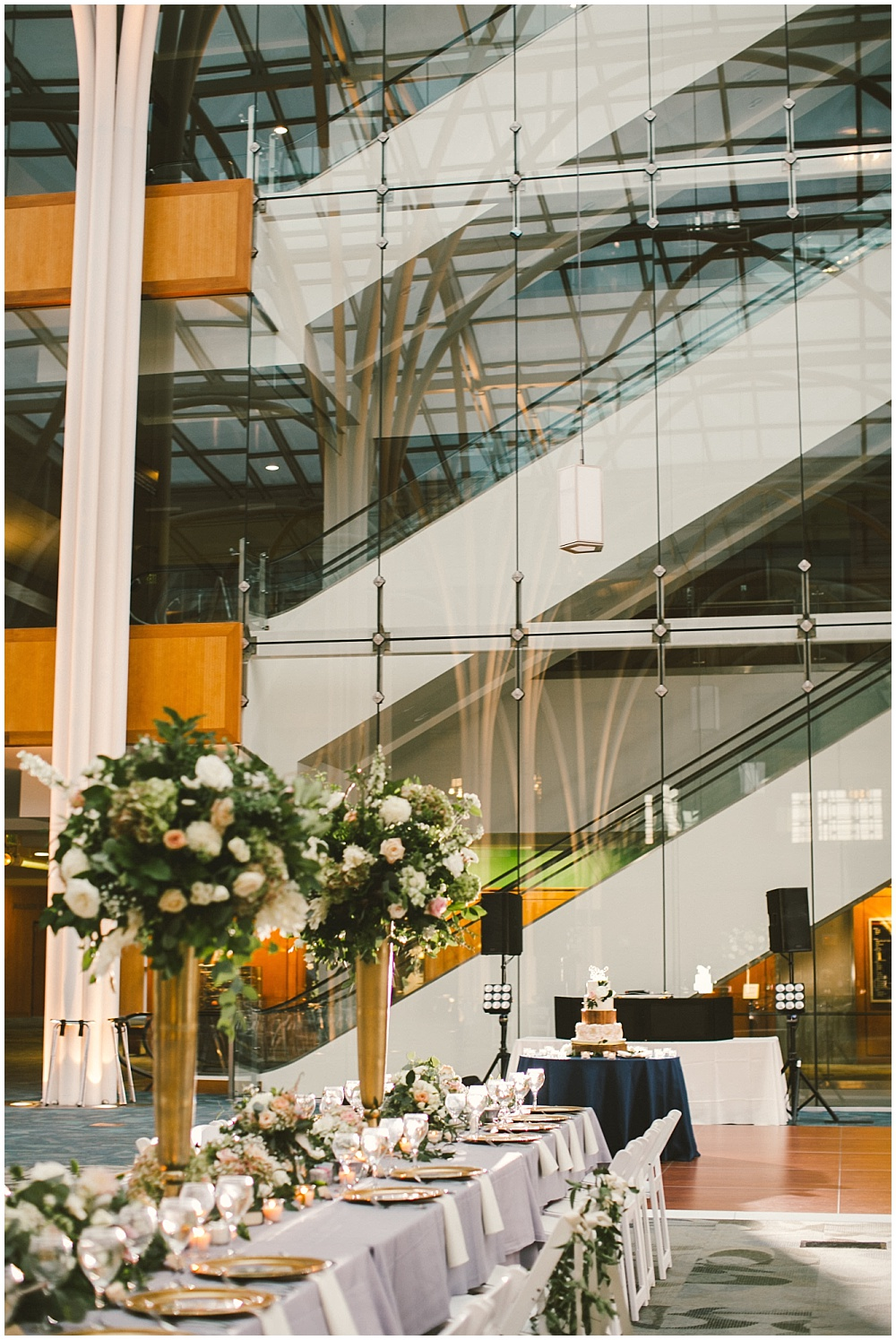 Library wedding with garden-esk floral centerpieces | Indianapolis Central Library Wedding by Jennifer Van Elk Photography & Jessica Dum Wedding Coordination