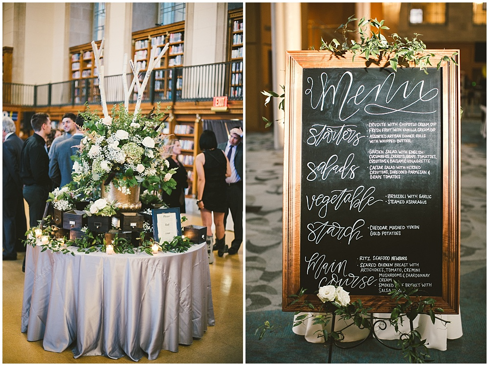 Hand lettered wedding menu and library box escort card display | Indianapolis Central Library Wedding by Jennifer Van Elk Photography & Jessica Dum Wedding Coordination