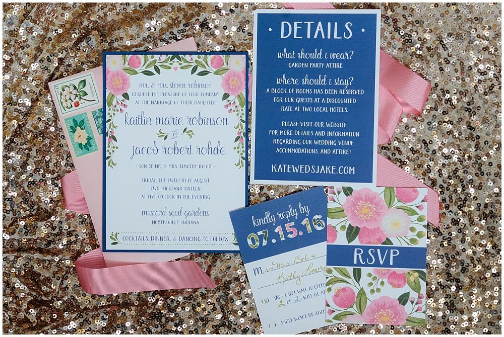 Pink and navy wedding invitation suite | Mustard Seed Gardens Wedding by Sara Ackermann Photography & Jessica Dum Wedding Coordination