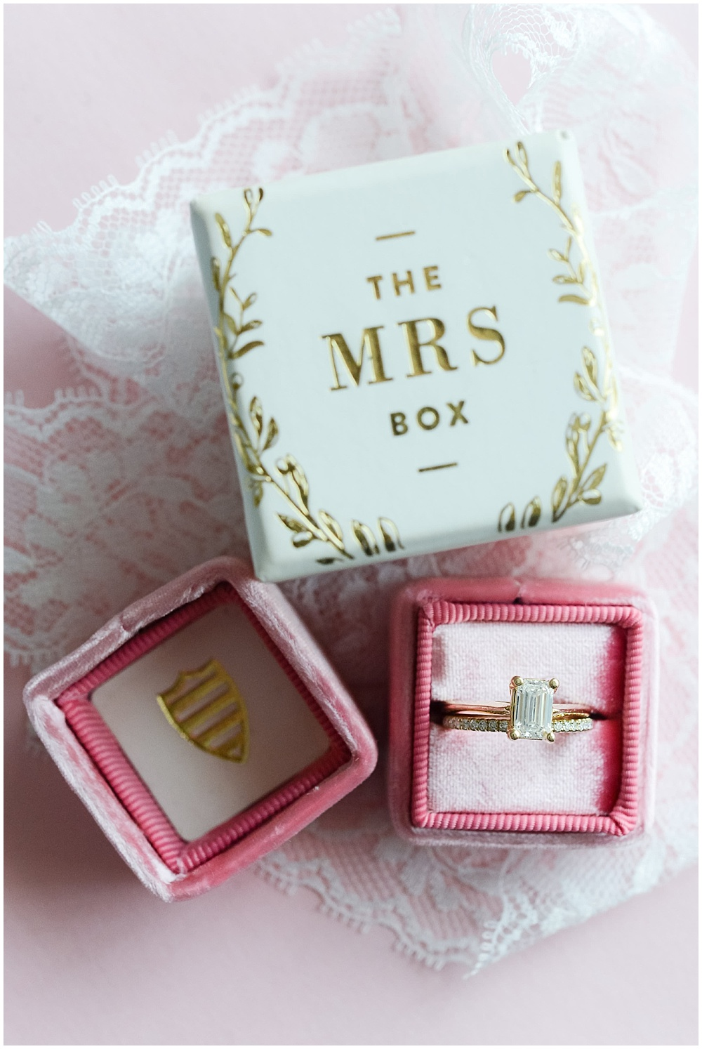 Wedding ring in a pink and gold The Mrs Box | Mustard Seed Gardens Wedding by Sara Ackermann Photography & Jessica Dum Wedding Coordination